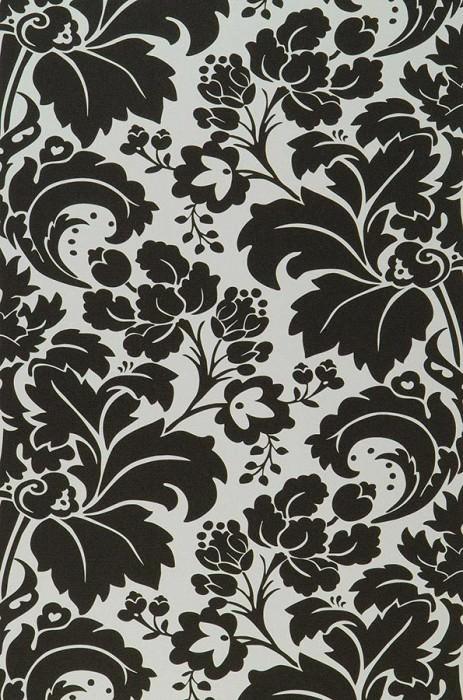 Papel pintado Faro Efecto lino fino Damasco barroco Blanco crema Negro