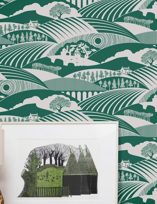 Wallpaper Ludovic Matt Trees Houses Landscape Grey white Pine green