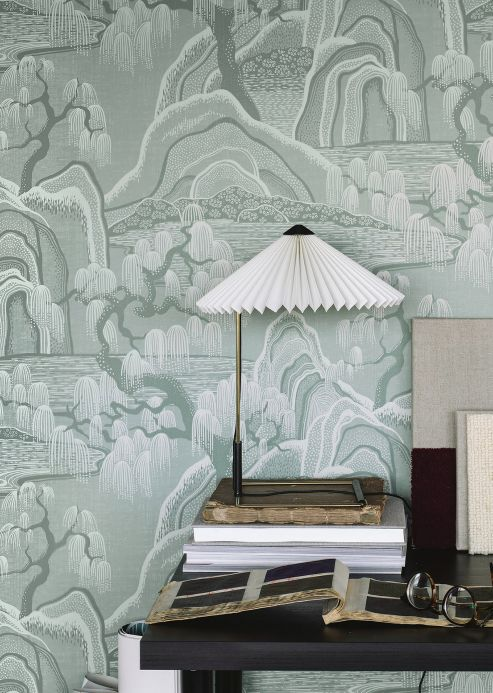 Oriental Wallpaper Wallpaper Japanese Garden light mint turquoise Room View
