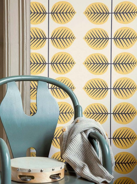 Wallpaper Panella Hand printed look Matt Leaves Cream Light yellow Black grey