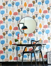 Wallpaper Elora Matt Stylised trees Cream Anthracite grey Blue Light grey beige Orange Rosè