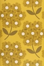 Wallpaper Ostara Matt Flowers Honey yellow Cream Grey brown Sand yellow