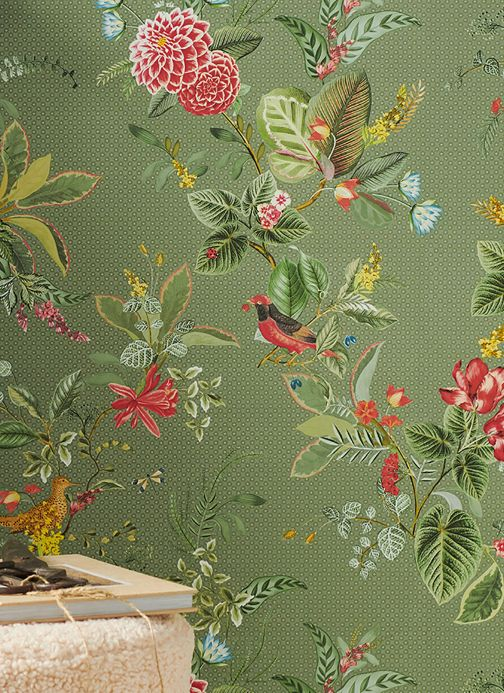 Floral Wallpaper Wallpaper Sylvania pale green Room View