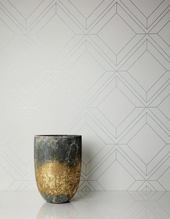 Papel pintado Malekid Patrón brillante Superficie base mate Elementos gráficos Blanco grisáceo Plata