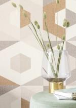 Papel pintado Fabrice Mate Elementos gráficos Hexágonos Tonos de marrón Marrón ocre brillante Blanco