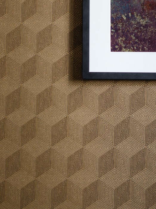 Wallpaper Hazel Shimmering pattern Matt base surface Geometrical elements Grey brown Gold shimmer