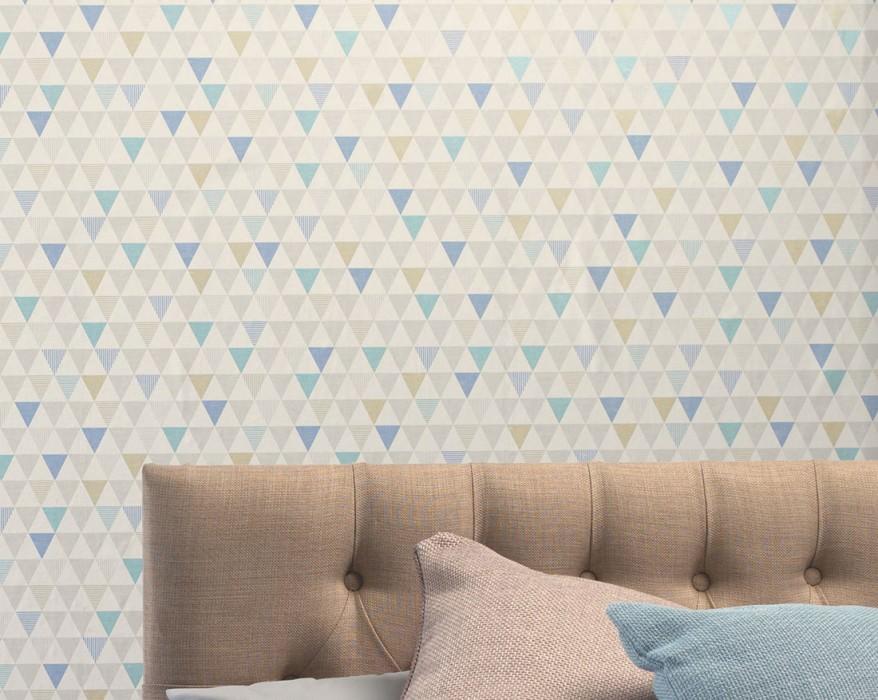 Papel pintado Zenem Mate Triángulos Blanco grisáceo Azul Gris Amarillo verdoso brillante Turquesa brillante