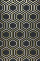 Wallpaper Malwin Matt Hexagons Anthracite grey Gold shimmer Light grey