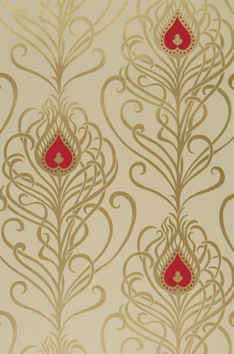 Wallpaper Elektra Shimmering pattern Matt base surface Peacock feathers Light ivory Gold Raspberry red