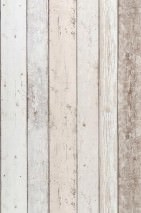 Wallpaper Old Planks Matt Old wooden boards Pale brown Cream Grey white