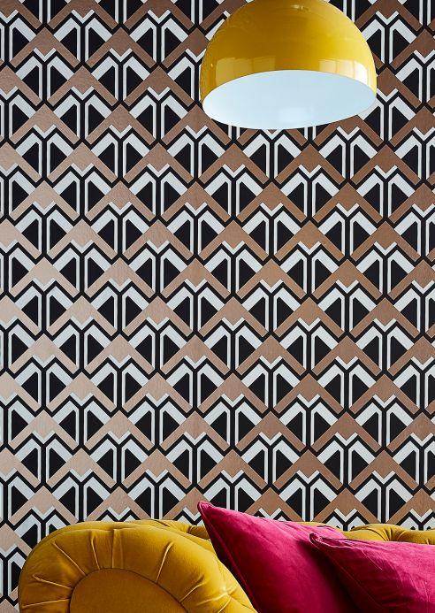 Papel pintado geométrico Papel pintado Nerea negro Ver habitación