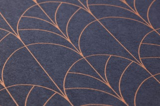 Wallpaper Ninon Shimmering pattern Matt base surface Art Deco Bends Sapphire blue Pearlescent copper