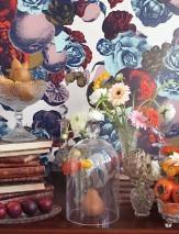 Papel de parede Boudoir Mate Flores Frutos Branco creme Azul escuro Verde oliva Turquesa pastel Vermelho