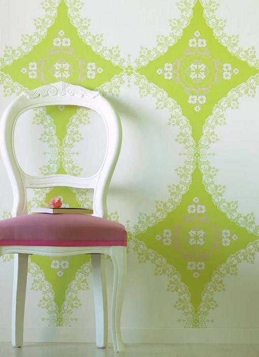 Wallpaper Selket Shiny pattern Matt base surface Baroque damask White Yellow green lustre Light grey beige