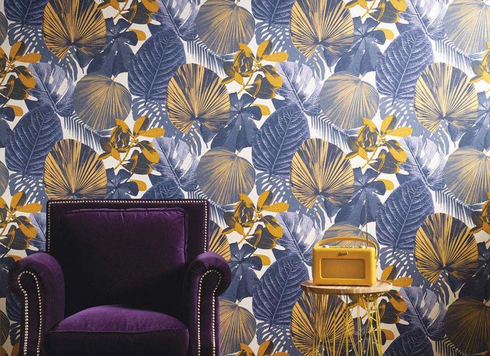 Material Tapete Venaria Violettblau Raumansicht