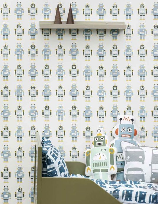 Archiv Wallpaper Robots light blue Room View