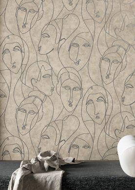 Papel pintado Vertigo beige grisáceo Raumansicht