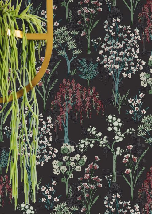 Botanical Wallpaper Wallpaper Sinfonia anthracite grey Room View