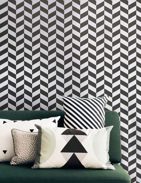 Papel de parede Angle Mate Elementos geométricos Branco creme Preto