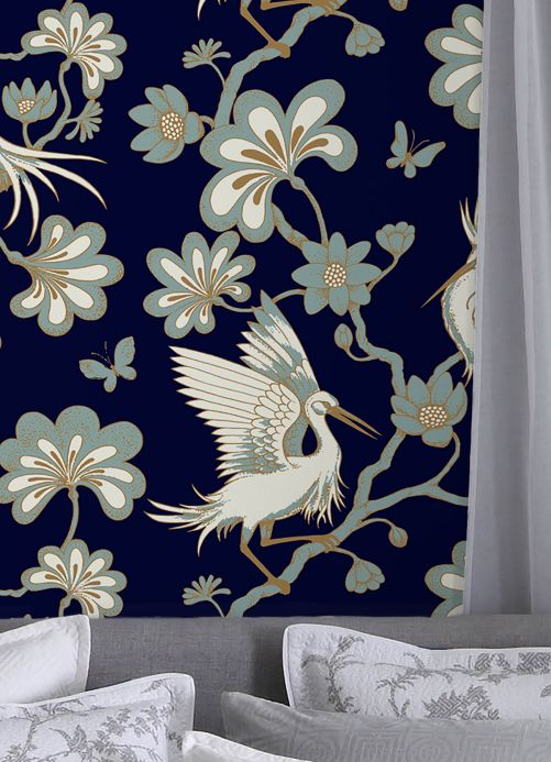 Bedroom Wallpaper Wallpaper Malacca sapphire blue Room View