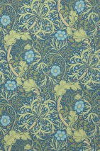 Wallpaper Caruso Hand printed look Matt Tropical plants Ocean blue Pale yellow Pale green Fern green Water blue