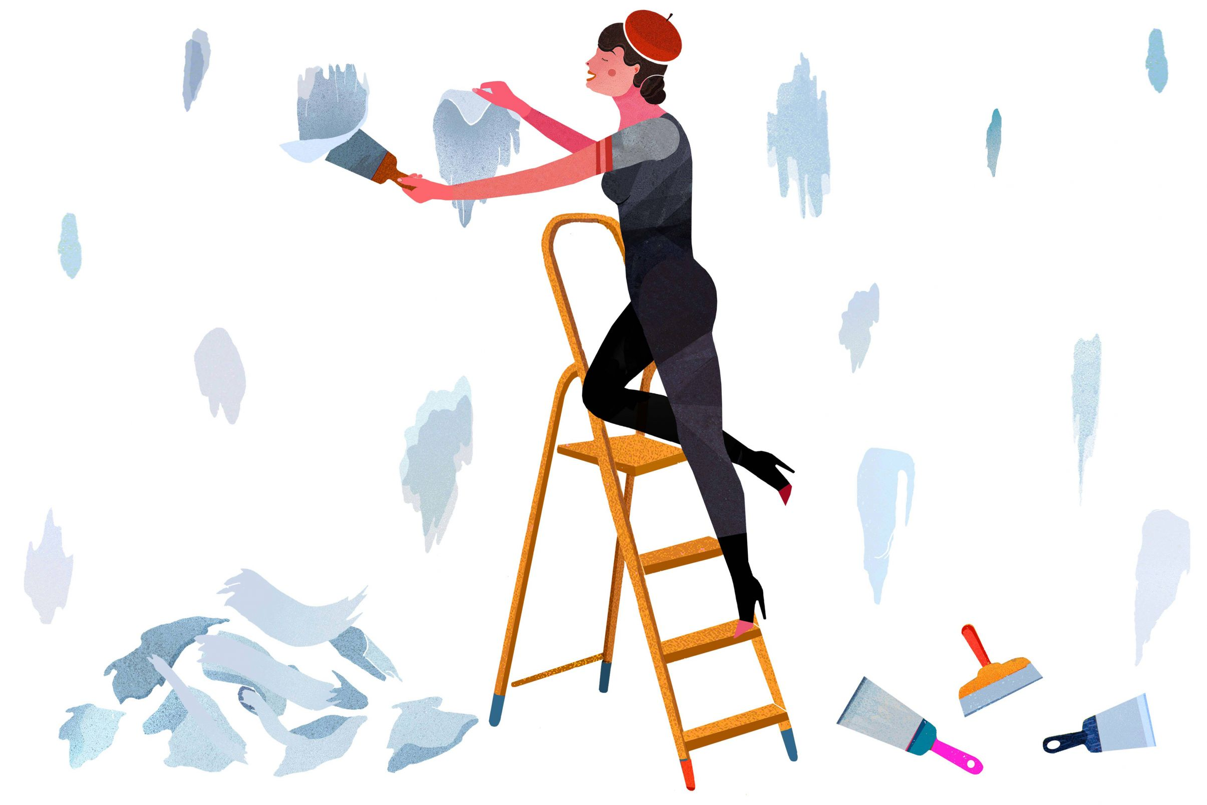 Como-despegar-papel-pintado-antiguo-Despegar-pedazos-de-papel-pintado-con-espatula