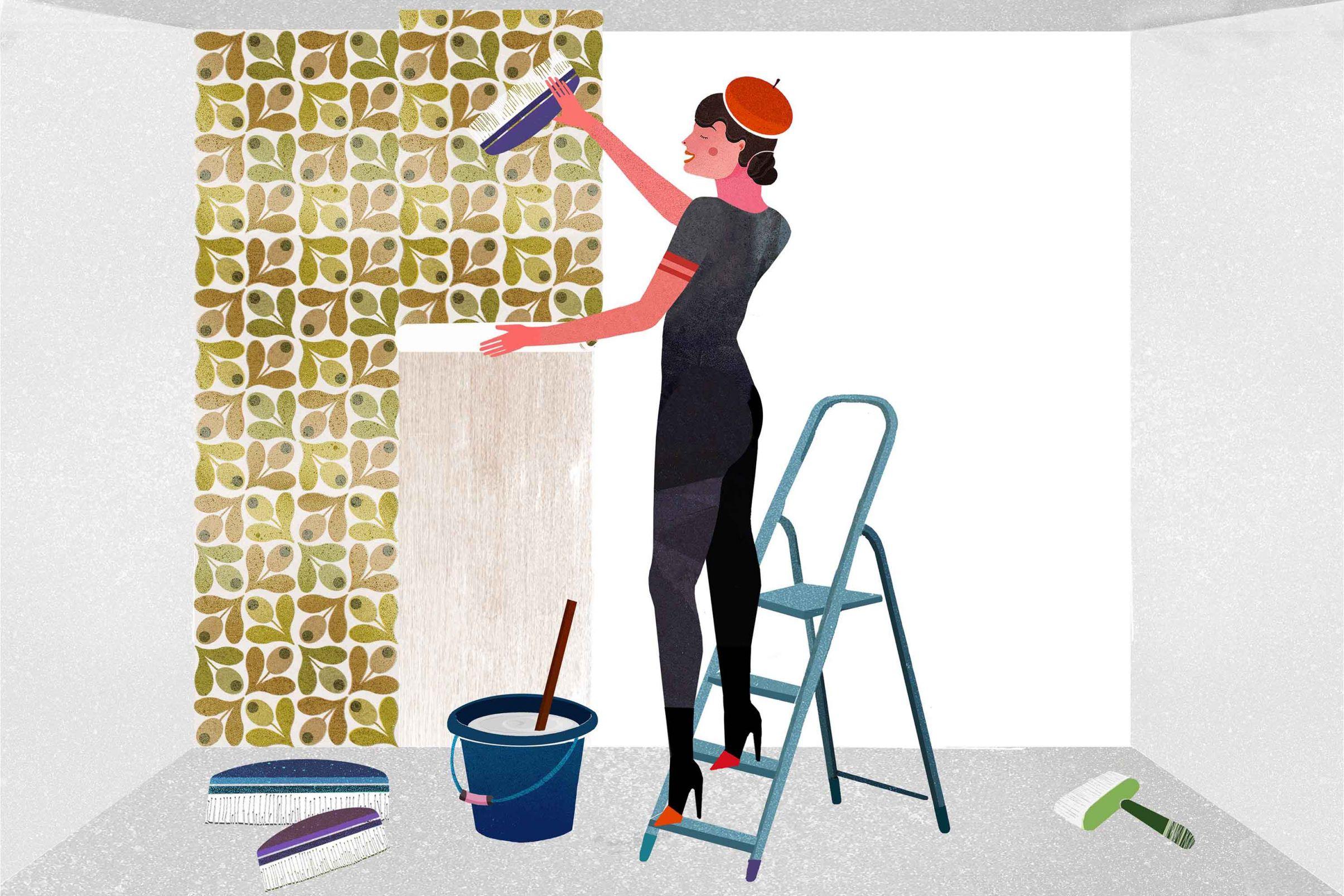 Como-colocar-papel-pintado-tejido-no-tejido-Colocar-las-tiras-de-papel-pintado-en-la-pared