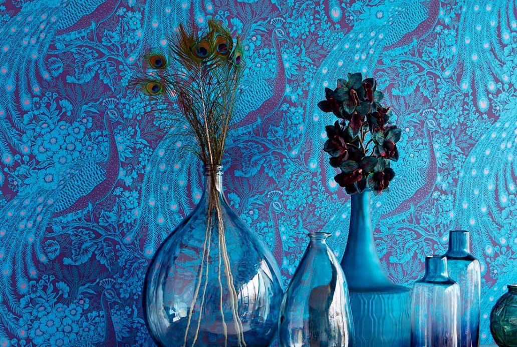Papel pintado animales Papel pintado Izanuela azul perla Ver habitación