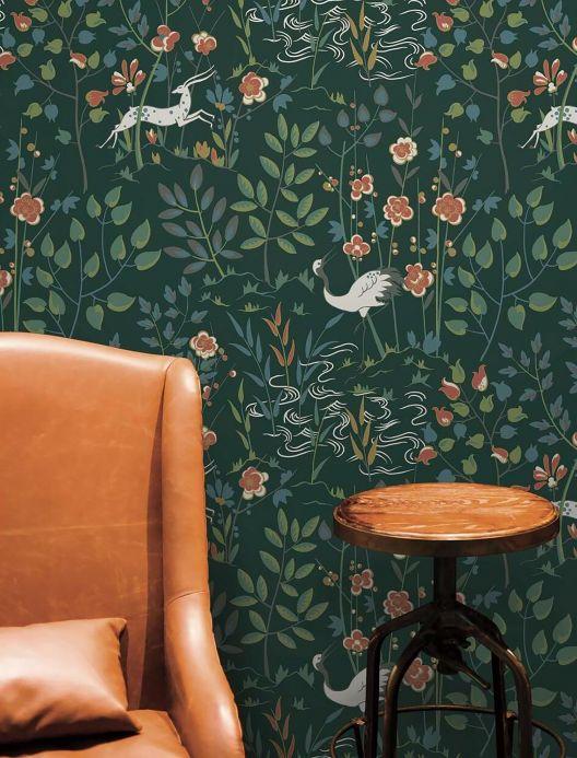 Botanical Wallpaper Wallpaper Carumba black green Room View