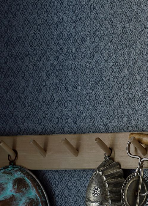 Country style Wallpaper Wallpaper Jadus grey blue Room View