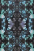 Papel pintado Mendonka Mate Burbujas Puntos claros Gris negruzco Violeta azulado Azul claro Verde claro Blanco