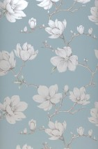Wallpaper Magnolia Shimmering pattern Matt base surface Branches with leaves and blossoms Mint grey Pale brown Pale green Cream shimmer