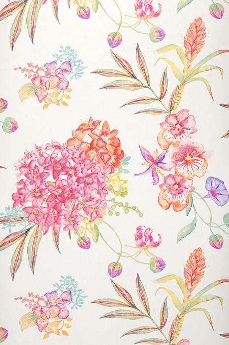 Carta da parati Fenja Opaco Fiori Orchidee Bianco crema Verde giallastro Arancio Rosa  Rosso Viola