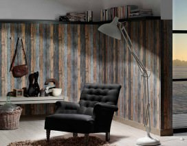 Wallpaper Used Wood Matt Old wooden boards Brown beige Grey blue Black grey