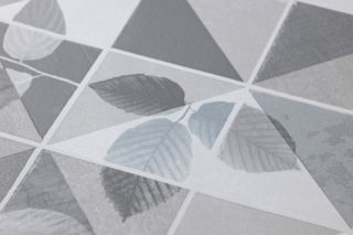 Papel pintado Waldivia Mate Hojas Elementos geométricos Tonos de gris Blanco grisáceo
