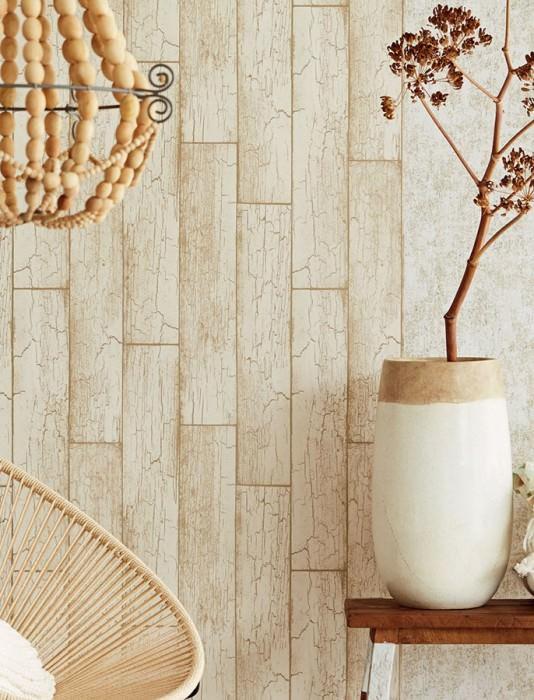 Papel de parede Atoras Mate Velhas tábuas de madeira Branco creme Ouro pérola