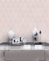 Wallpaper Lyria Matt pattern Iridescent base surface Art Deco fans Pale pink shimmer Cream