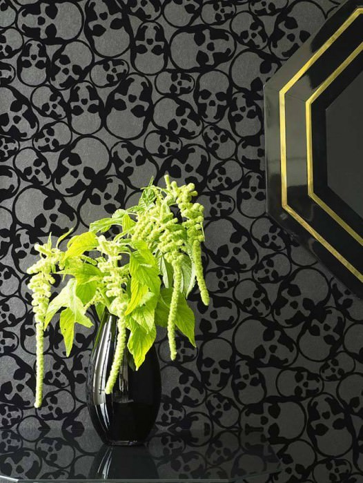 Wallpaper Skulls Matt pattern Shimmering base surface Skulls Anthracite Black