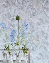 Papel de parede Laurius Mate Imitação de mármore Azul pálido Lilás azulado Cinza Bege acinzentado Branco