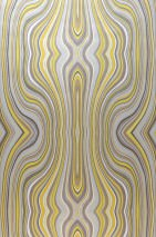 Wallpaper Mentana Matt Retro design Wavy pattern Brown Cream Yellow Grey Silver grey