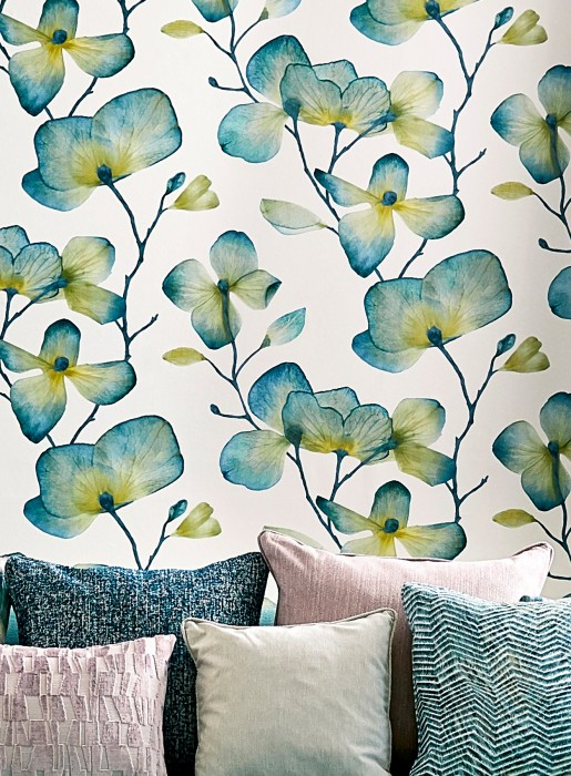 Papel de parede Munroe Padrão mate Superficie base brilhante Flores gavinhas Flores Branco creme Verde azulado Amarelo caril Bege esverdeado Azul esverdeado