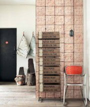 Wallpaper Brooklyn Tins 06 Matt Shabby chic Imitation enameled iron tiles Rosewood Beige red Dark grey Black