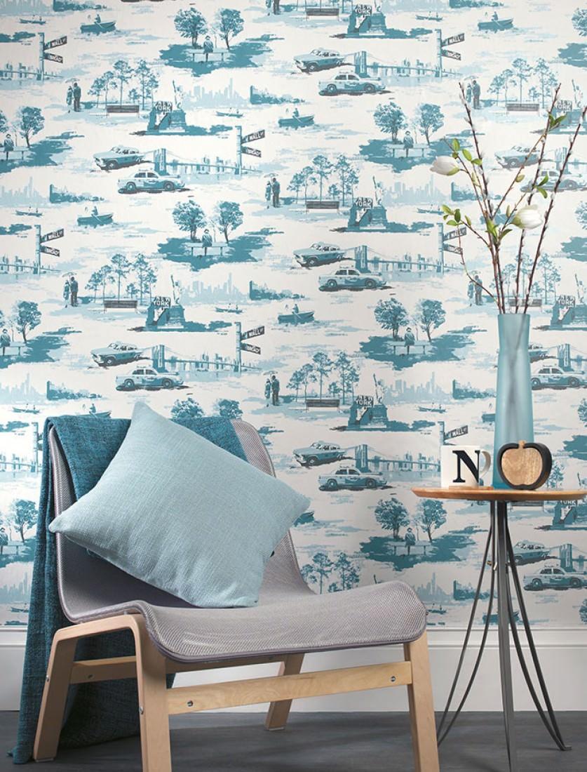 tapete new york toile cremeweiss ozeanblau pastellblau schimmer schwarzgrau tapeten der 70er. Black Bedroom Furniture Sets. Home Design Ideas
