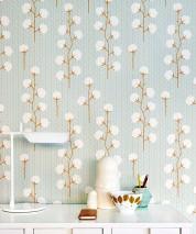 Wallpaper Sweet Cotton Hand printed look Matt Cotton plant Light pastel turquoise Pale grey brown Cream Ochre brown
