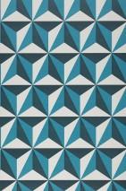 Papier peint Limal Mat Éléments graphiques Blanc crème Bleu océan Bleu d'eau