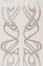 Wallpaper Balanza Shiny pattern Matt base surface Modern damask Waves Cream White gold