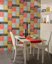 Wallpaper Velar Matt Words Dark grey Green yellow Pastel turquoise Red White Yellow green