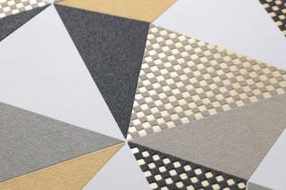 Papel pintado Vector Mate Elementos geométricos Naranja pálido Blanco crema Gris Gris beige claro  Negro Negro