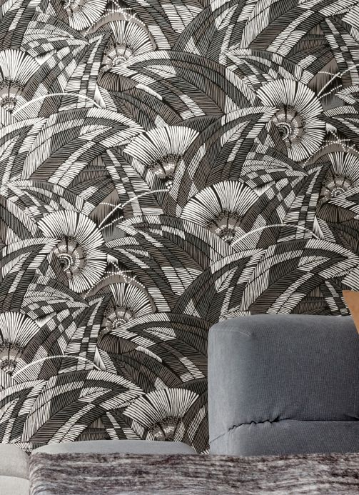 Botanical Wallpaper Wallpaper Siskara dark grey Room View