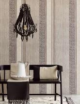 Papel de parede Cemal Mate Estilo afro Listas Branco creme Branco creme brilhante Cinza bege Marrom acinzentado